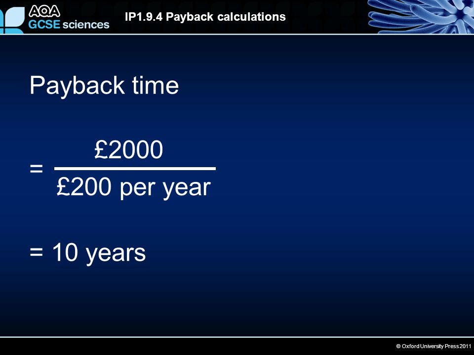 © Oxford University Press 2011 IP1.9.4 Payback calculations Payback time = = 10 years £2000 £200 per year