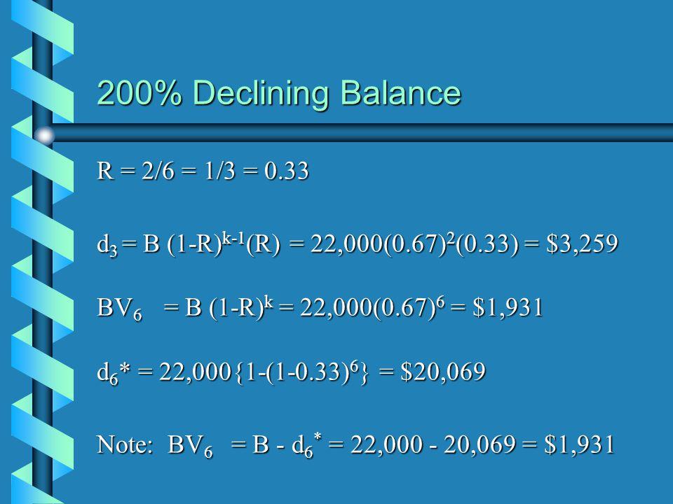 200% Declining Balance R = 2/6 = 1/3 = 0.33 d 3 = B (1-R) k-1 (R) = 22,000(0.67) 2 (0.33) = $3,259 BV 6 = B (1-R) k = 22,000(0.67) 6 = $1,931 d 6 * =