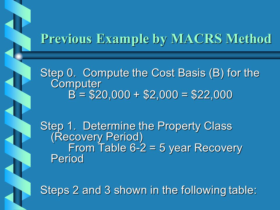 Previous Example by MACRS Method Step 0. Compute the Cost Basis (B) for the Computer B = $20,000 + $2,000 = $22,000 Step 1. Determine the Property Cla