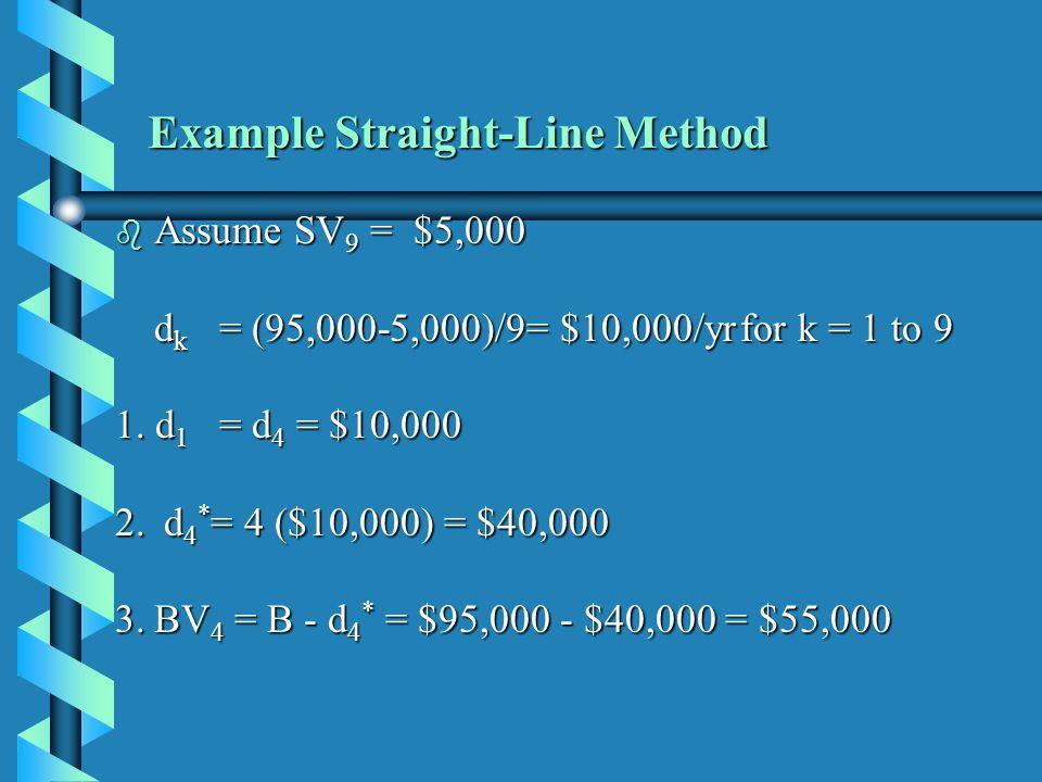 b Assume SV 9 = $5,000 d k = (95,000-5,000)/9= $10,000/yrfor k = 1 to 9 1. d 1 = d 4 = $10,000 2. d 4 * = 4 ($10,000) = $40,000 3.BV 4 = B - d 4 * = $