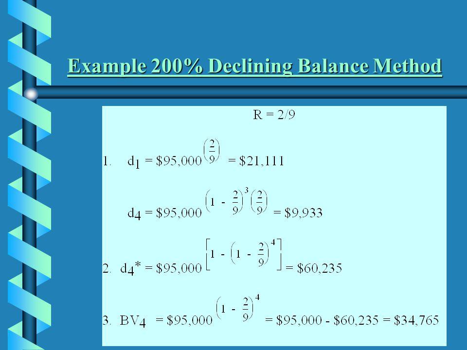 Example 200% Declining Balance Method