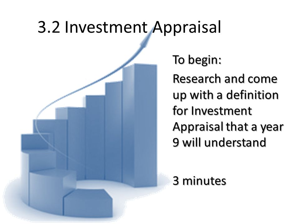 3.2 Investment Appraisal To begin: Research and come up with a definition for Investment Appraisal that a year 9 will understand 3 minutes