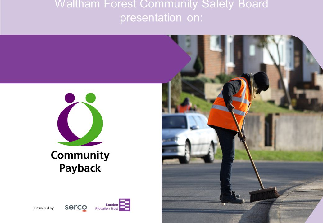 Delivered by 2 Community Payback Overview Work undertaken by Community Payback: Removing graffiti Clearing wasteland Decorating public amenities and buildings.