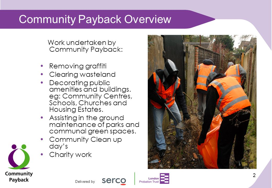 Delivered by 3 Community Payback Overview cont....