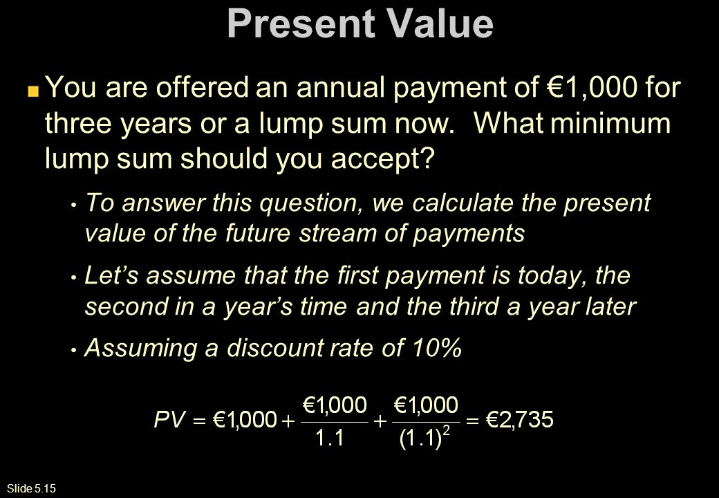 Slide 5.15 Present Value You are offered an annual payment of €1,000 for three years or a lump sum now.
