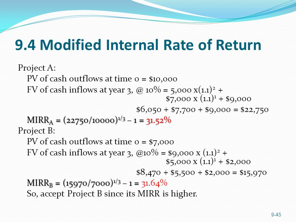 9.4 Modified Internal Rate of Return Project A: PV of cash outflows at time 0 = $10,000 FV of cash inflows at year 3, @ 10% = 5,000 x(1.1) 2 + $7,000 x (1.1) 1 + $9,000 $6,050 + $7,700 + $9,000 = $22,750 MIRR A = (22750/10000) 1/3 – 1 = 31.52% MIRR A = (22750/10000) 1/3 – 1 = 31.52% Project B: PV of cash outflows at time 0 = $7,000 FV of cash inflows at year 3, @10% = $9,000 x (1.1) 2 + $5,000 x (1.1) 1 + $2,000 $8,470 + $5,500 + $2,000 = $15,970 MIRR B = (15970/7000) 1/3 – 1 = MIRR B = (15970/7000) 1/3 – 1 = 31.64% So, accept Project B since its MIRR is higher.