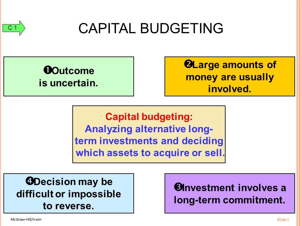 McGraw-Hill/Irwin Slide 1 McGraw-Hill/Irwin Slide 1 Capital budgeting: Analyzing alternative long- term investments and deciding which assets to acquire or sell.