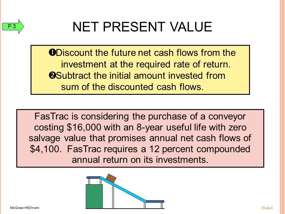 McGraw-Hill/Irwin Slide 9 McGraw-Hill/Irwin Slide 9 Now let's look at a capital budgeting model that considers the time value of cash flows.