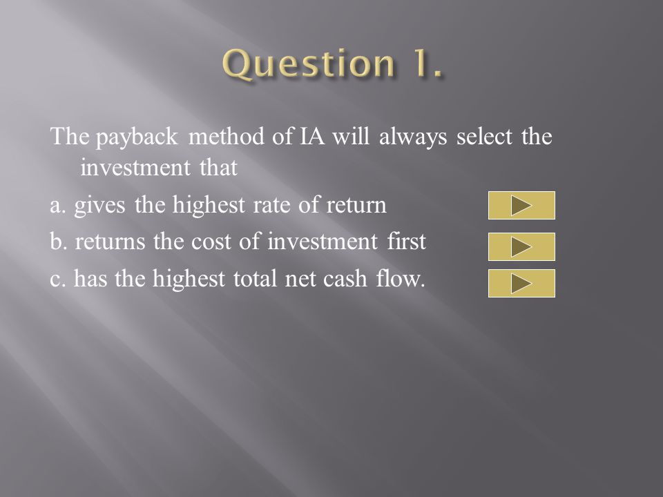 The payback method of IA will always select the investment that a.