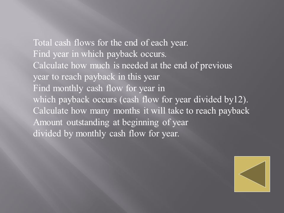 Total cash flows for the end of each year.Find year in which payback occurs.
