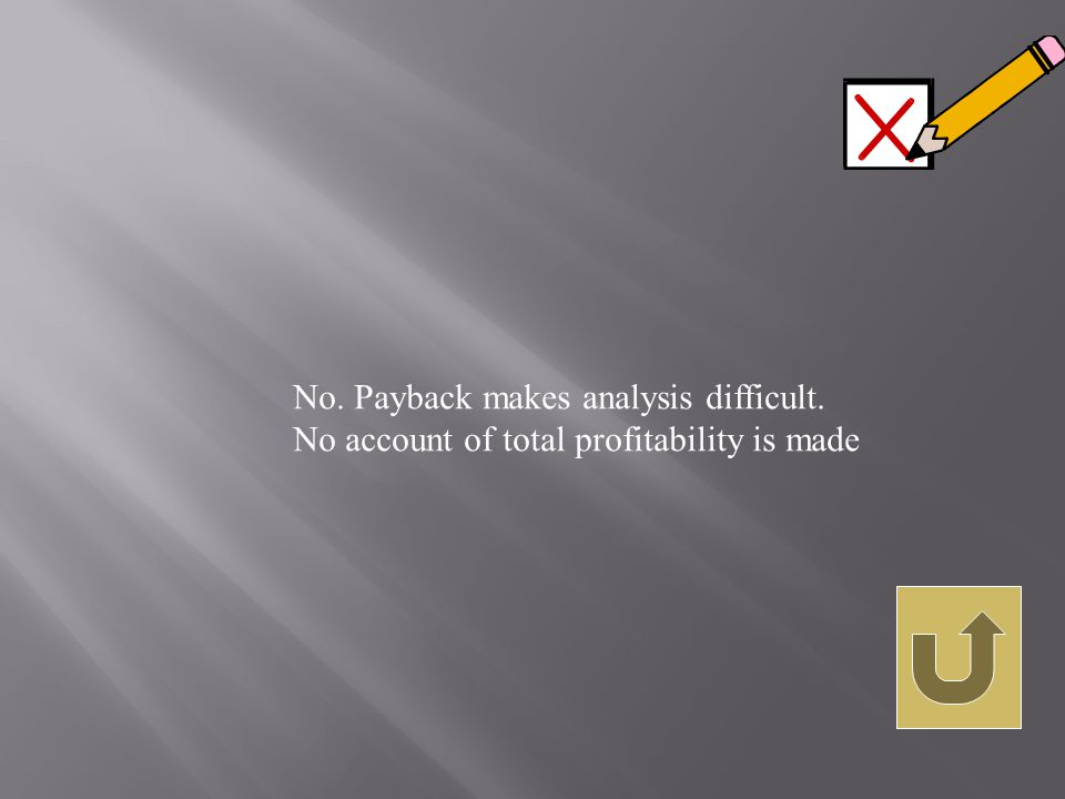 No. Payback makes analysis difficult. No account of total profitability is made