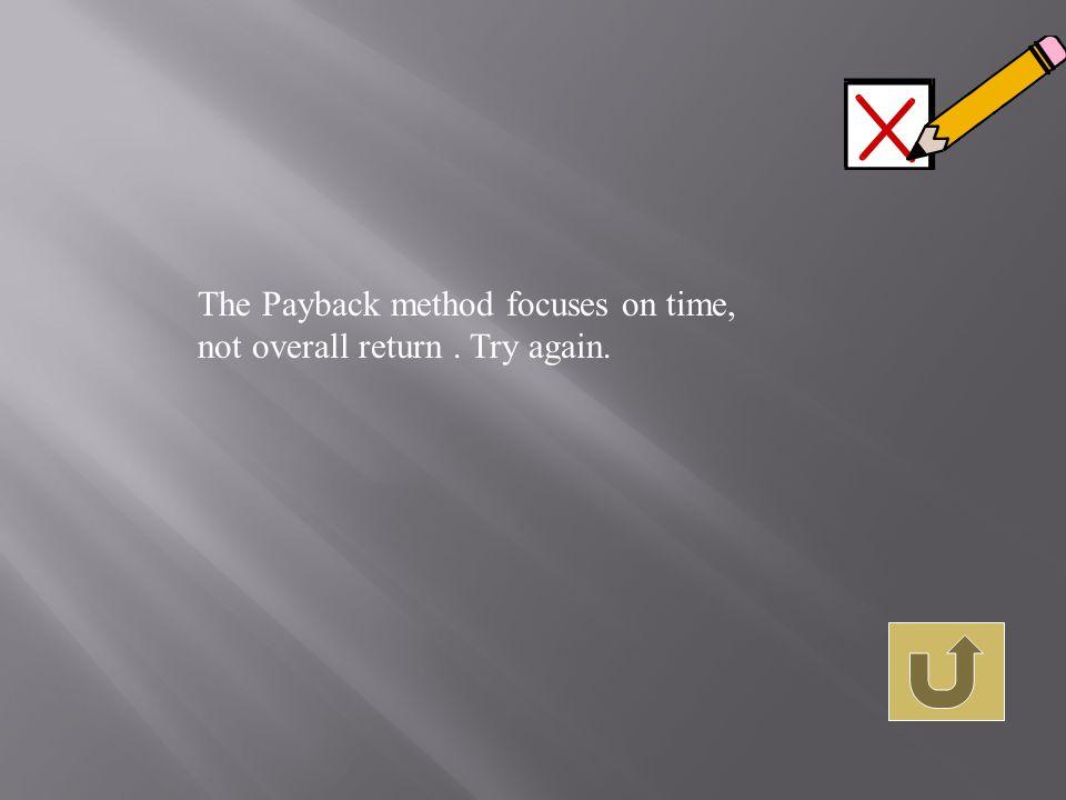 The Payback method focuses on time, not overall return. Try again.