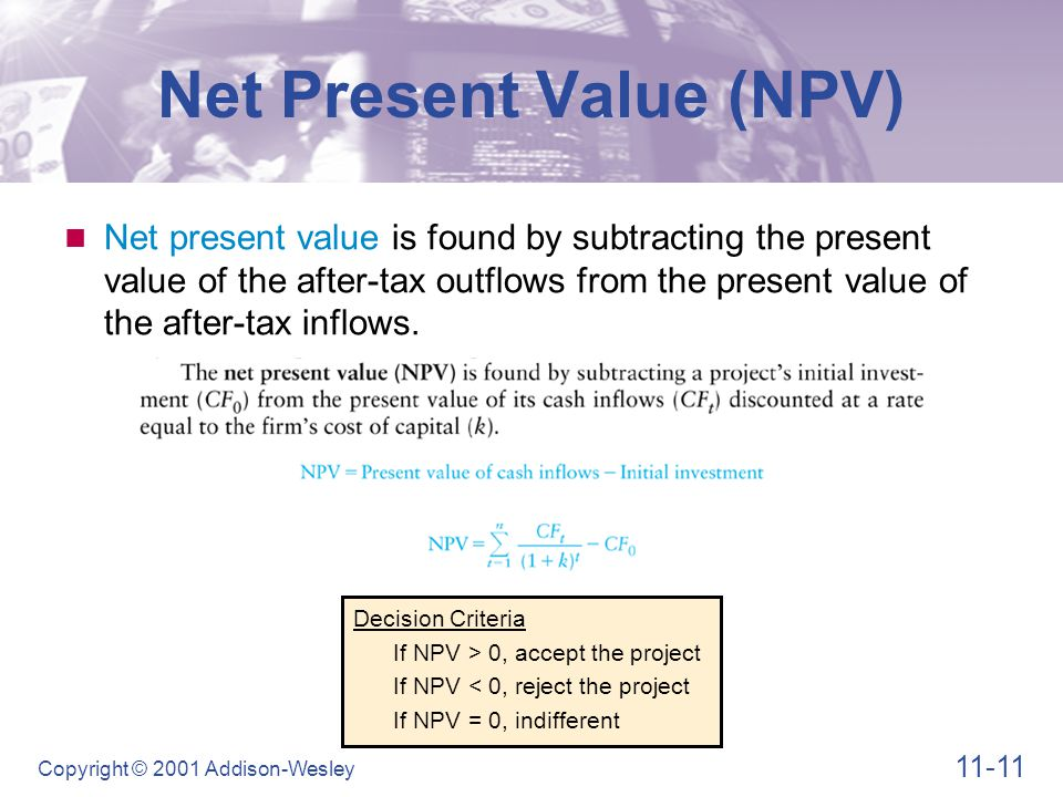 11-11 Copyright © 2001 Addison-Wesley Decision Criteria If NPV > 0, accept the project If NPV < 0, reject the project If NPV = 0, indifferent Net Pres