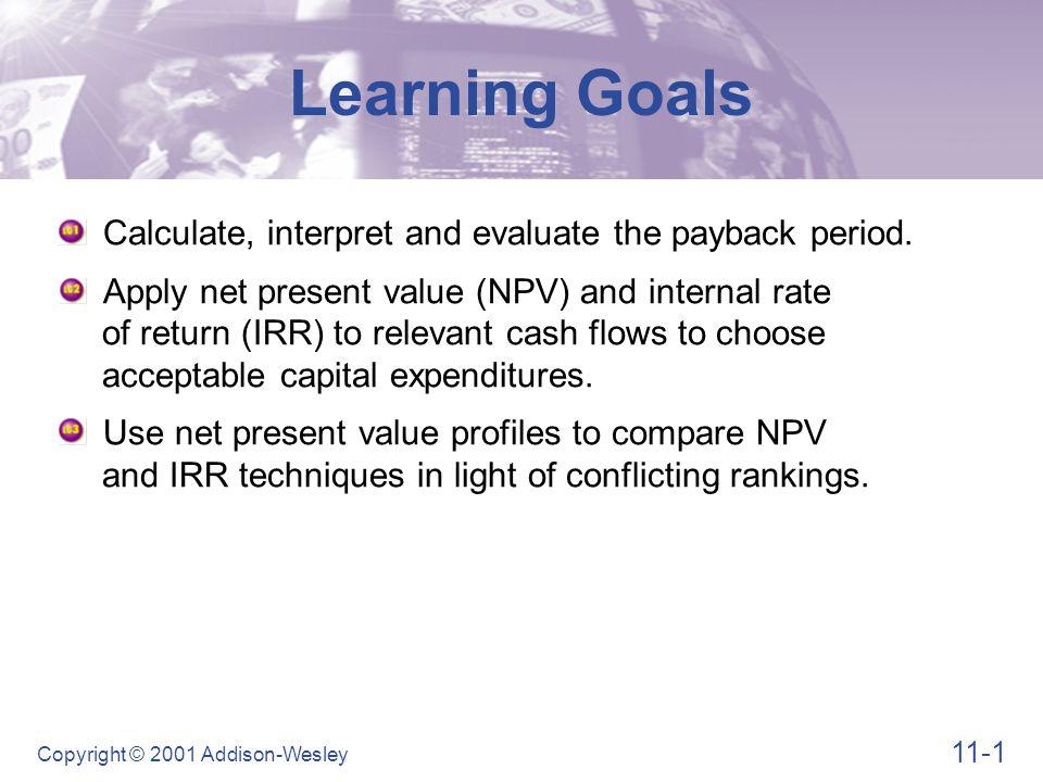 11-12 Copyright © 2001 Addison-Wesley Net Present Value (NPV) Figure 11.2