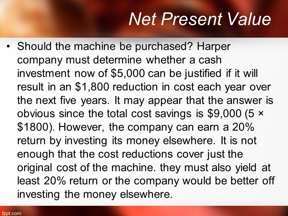 Net Present Value Should the machine be purchased.