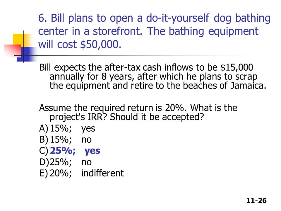 11-26 6. Bill plans to open a do-it-yourself dog bathing center in a storefront.