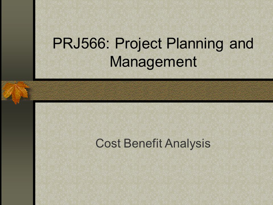 PRJ566: Project Planning and Management Cost Benefit Analysis