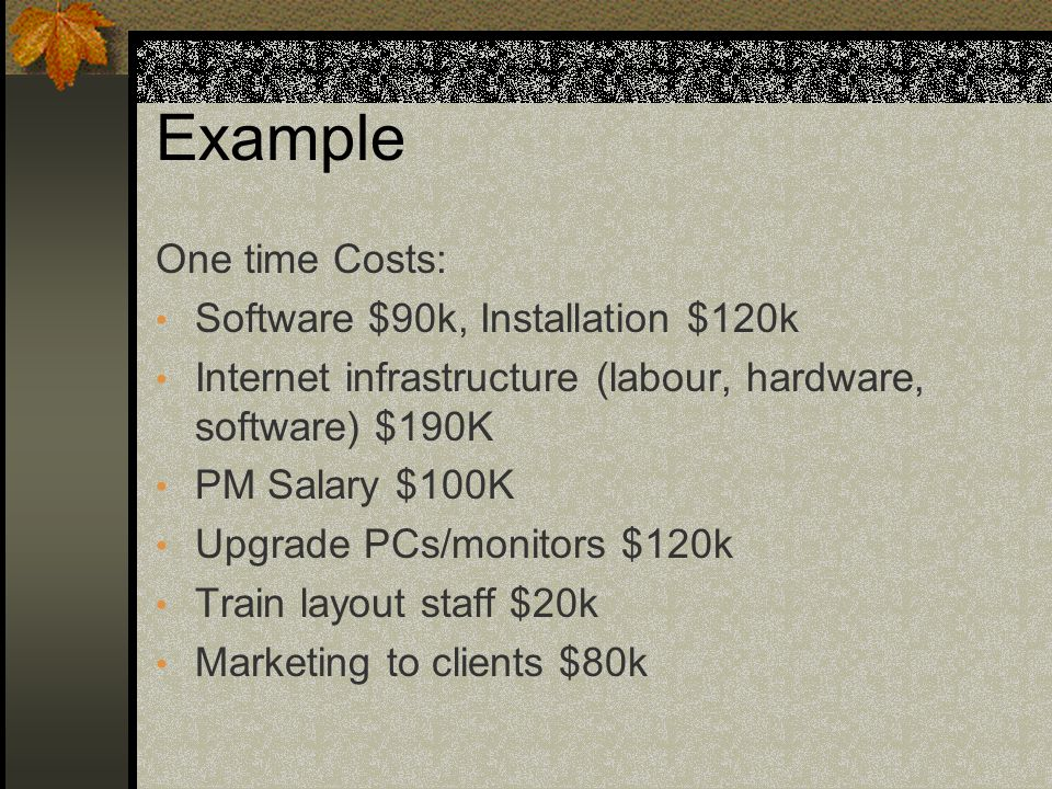 Example One time Costs: Software $90k, Installation $120k Internet infrastructure (labour, hardware, software) $190K PM Salary $100K Upgrade PCs/monitors $120k Train layout staff $20k Marketing to clients $80k