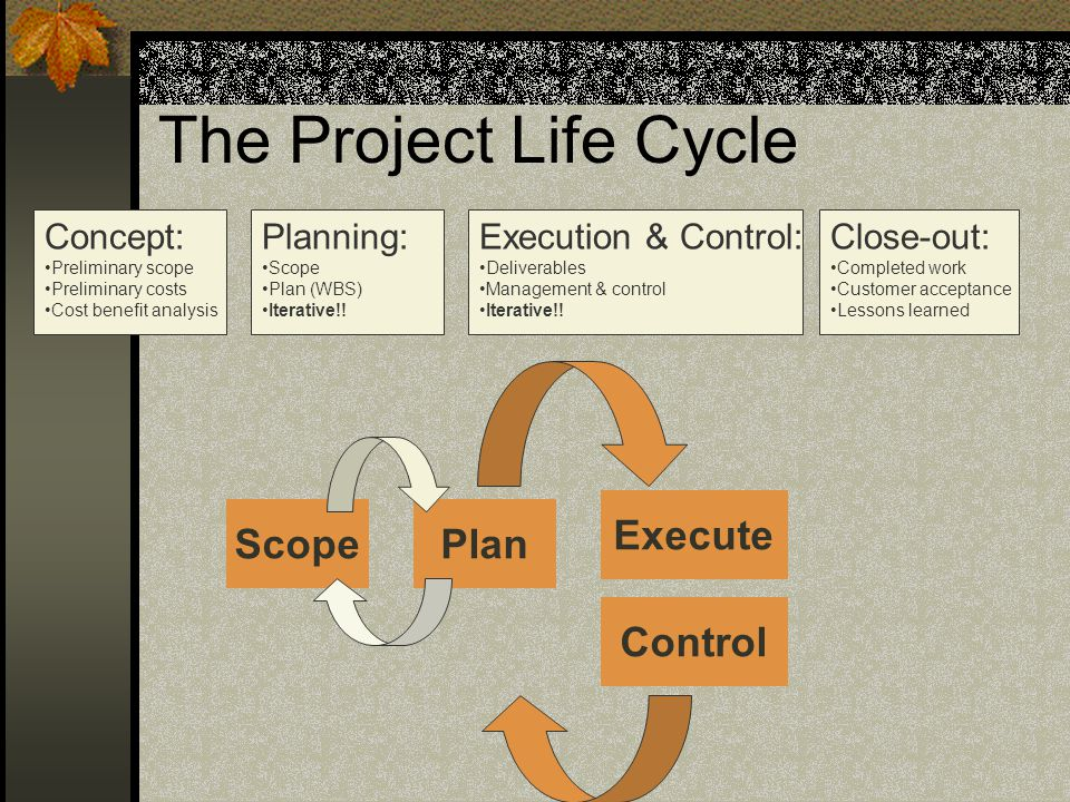 The Project Life Cycle ScopePlan Execute Control Concept: Preliminary scope Preliminary costs Cost benefit analysis Planning: Scope Plan (WBS) Iterative!.