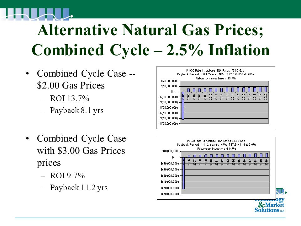 Alternative Natural Gas Prices; Combined Cycle – 2.5% Inflation Combined Cycle Case -- $2.00 Gas Prices –ROI 13.7% –Payback 8.1 yrs Combined Cycle Cas
