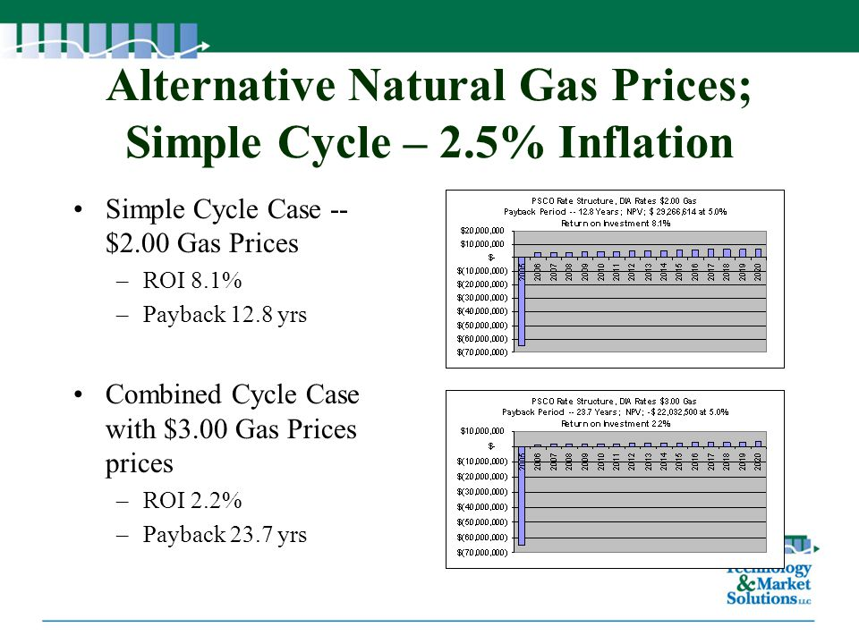 Alternative Natural Gas Prices; Simple Cycle – 2.5% Inflation Simple Cycle Case -- $2.00 Gas Prices –ROI 8.1% –Payback 12.8 yrs Combined Cycle Case wi