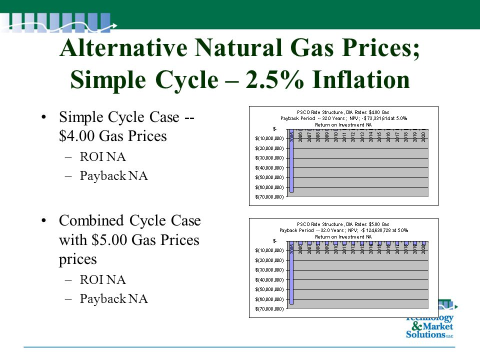 Alternative Natural Gas Prices; Simple Cycle – 2.5% Inflation Simple Cycle Case -- $4.00 Gas Prices –ROI NA –Payback NA Combined Cycle Case with $5.00