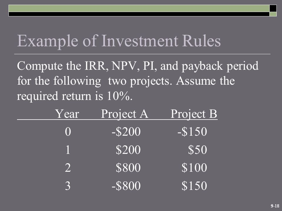 9-185-18 Example of Investment Rules Compute the IRR, NPV, PI, and payback period for the following two projects.
