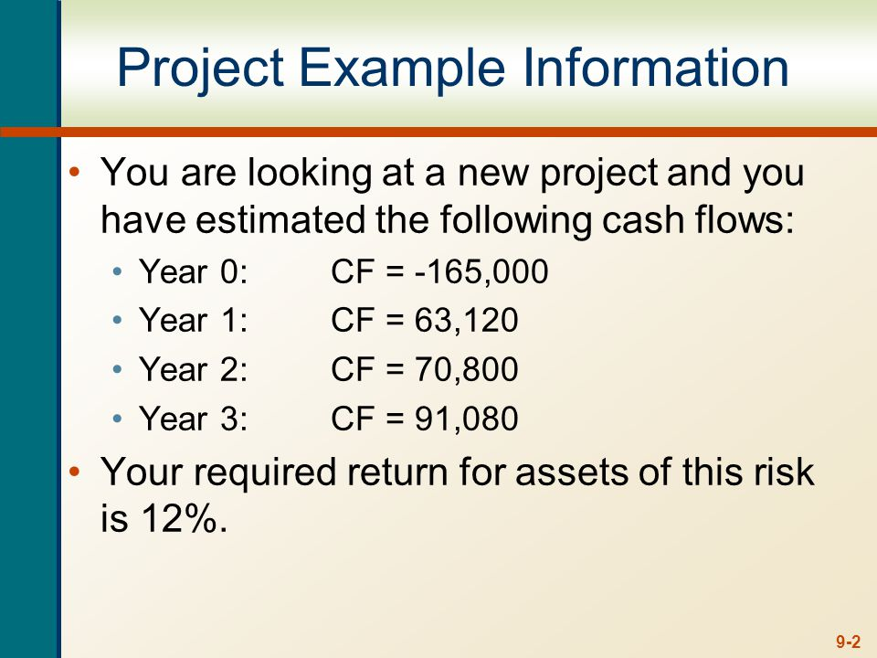 9-2 Project Example Information You are looking at a new project and you have estimated the following cash flows: Year 0:CF = -165,000 Year 1:CF = 63,120 Year 2:CF = 70,800 Year 3:CF = 91,080 Your required return for assets of this risk is 12%.
