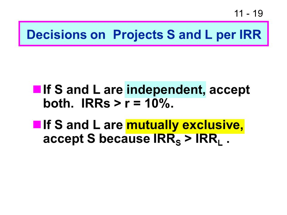 11 - 19 Decisions on Projects S and L per IRR If S and L are independent, accept both. IRRs > r = 10%. If S and L are mutually exclusive, accept S bec