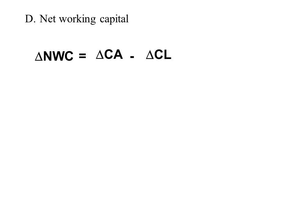 D.Net working capital  NWC  CA  CL = -