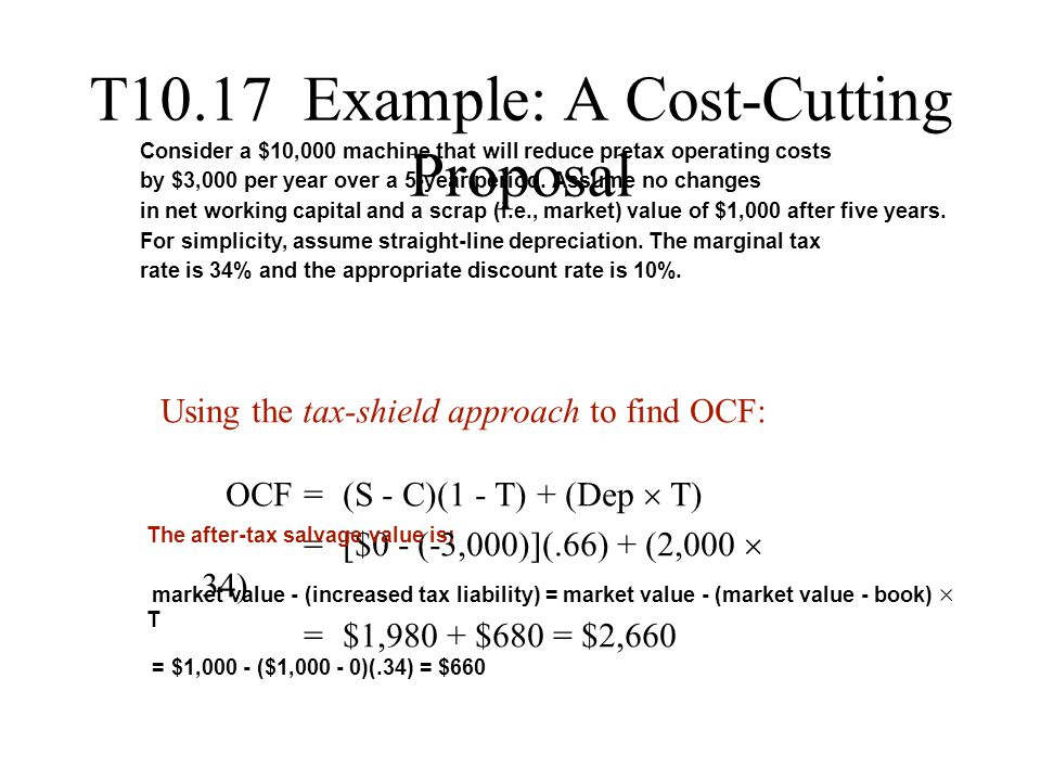T10.17 Example: A Cost-Cutting Proposal Using the tax-shield approach to find OCF: OCF = (S - C)(1 - T) + (Dep  T) = [$0 - (-3,000)](.66) + (2,000 .