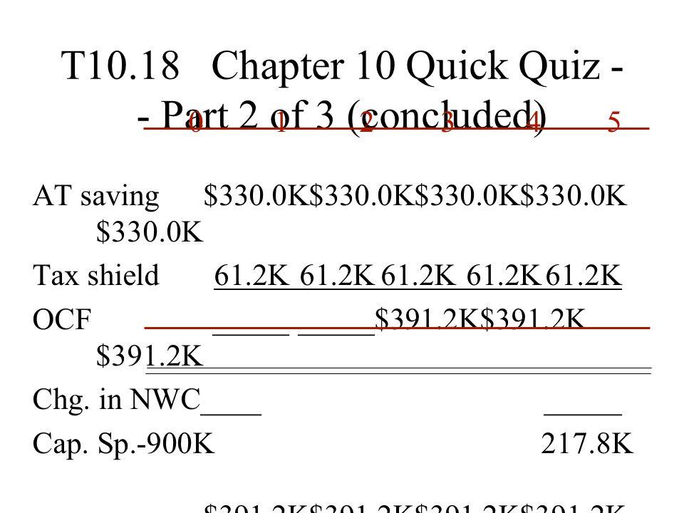 T10.18 Chapter 10 Quick Quiz - - Part 2 of 3 (concluded) 012345 AT saving$330.0K$330.0K$330.0K$330.0K $330.0K Tax shield61.2K61.2K61.2K61.2K61.2K OCF_