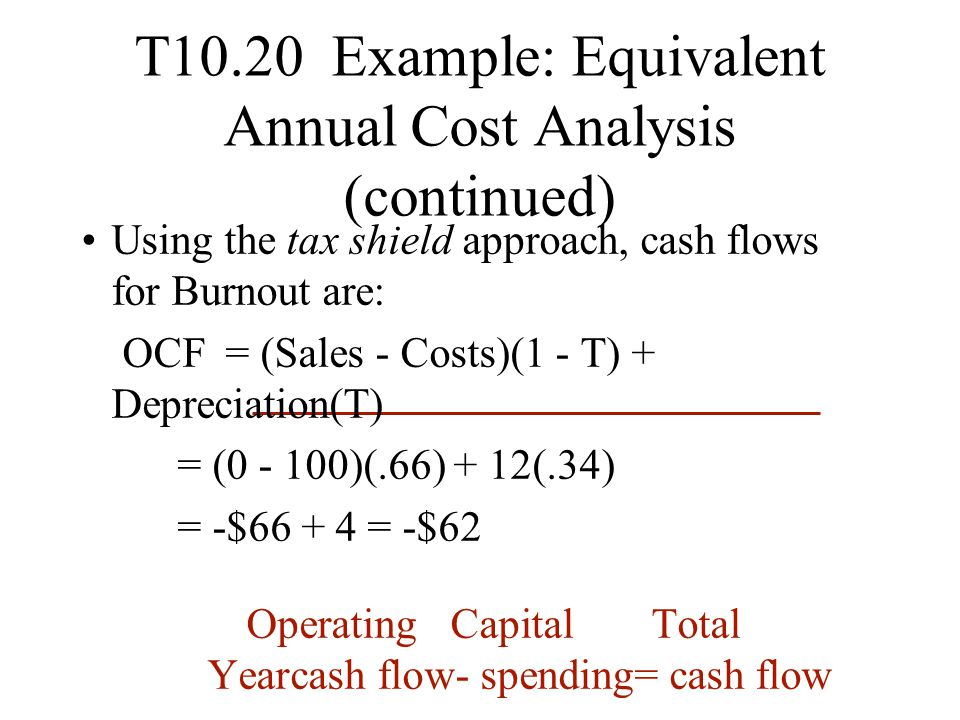 T10.20 Example: Equivalent Annual Cost Analysis (continued) Using the tax shield approach, cash flows for Burnout are: OCF = (Sales - Costs)(1 - T) +