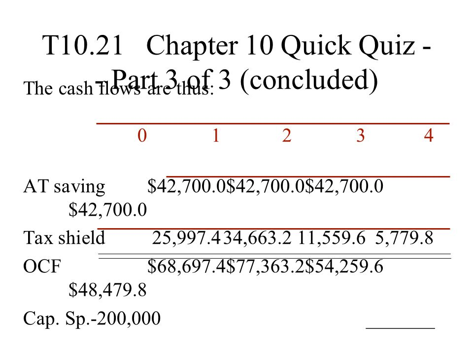 T10.21 Chapter 10 Quick Quiz - - Part 3 of 3 (concluded) The cash flows are thus: 01234 AT saving$42,700.0$42,700.0$42,700.0 $42,700.0 Tax shield25,99