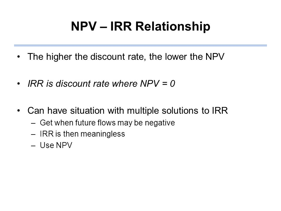 NPV – IRR Relationship The higher the discount rate, the lower the NPV IRR is discount rate where NPV = 0 Can have situation with multiple solutions to IRR –Get when future flows may be negative –IRR is then meaningless –Use NPV