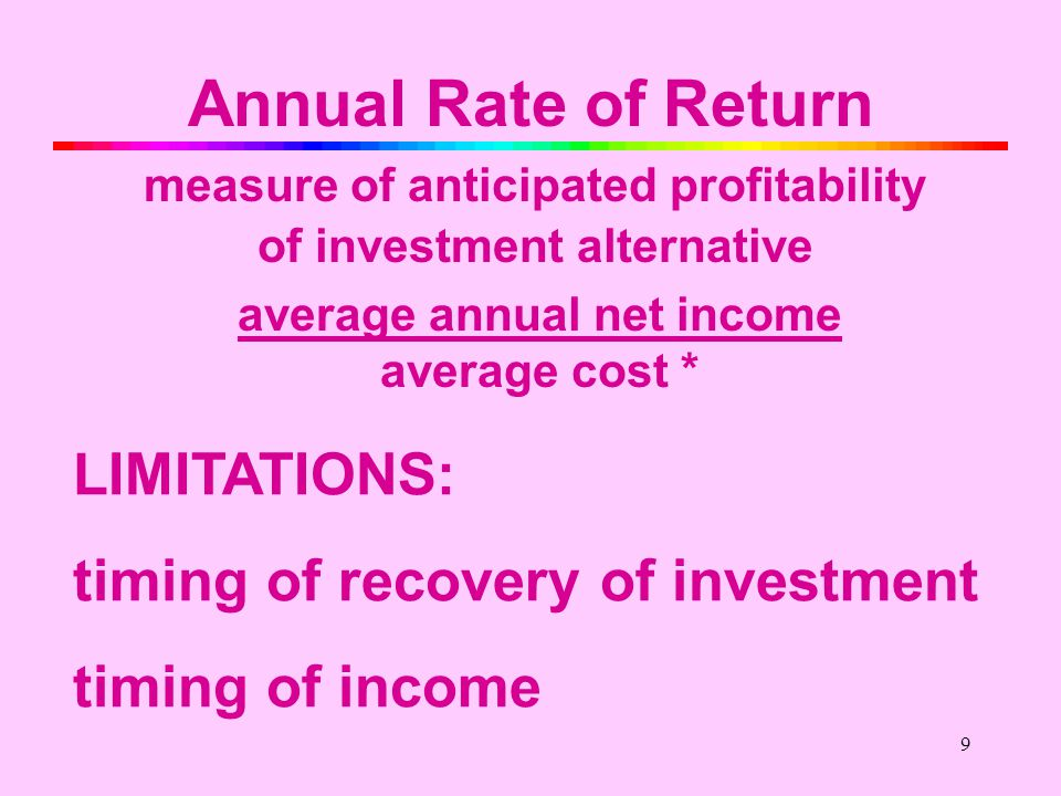 9 Annual Rate of Return measure of anticipated profitability of investment alternative average annual net income average cost * LIMITATIONS: timing of recovery of investment timing of income