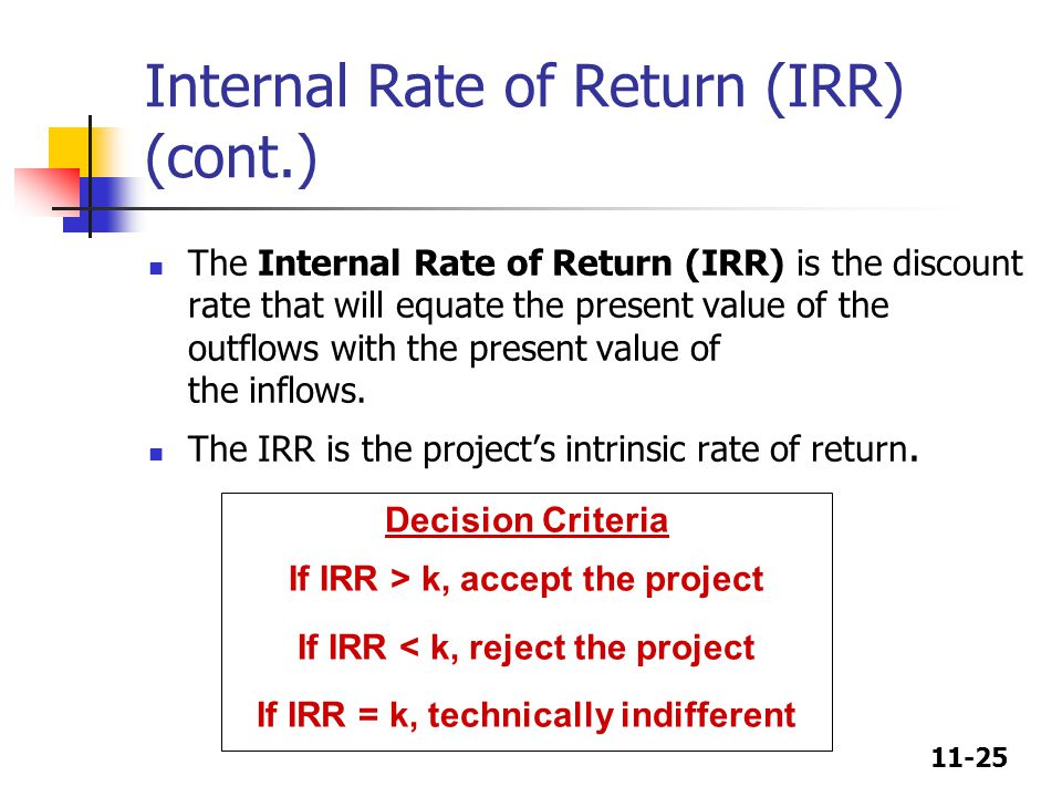 11-25 Decision Criteria If IRR > k, accept the project If IRR < k, reject the project If IRR = k, technically indifferent Internal Rate of Return (IRR) (cont.) The Internal Rate of Return (IRR) is the discount rate that will equate the present value of the outflows with the present value of the inflows.