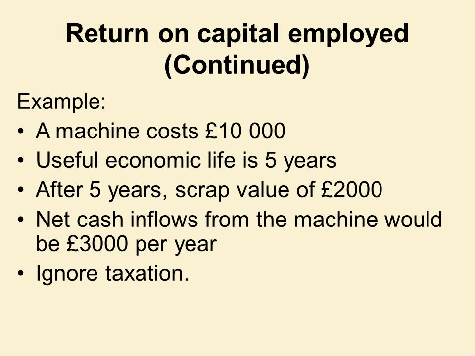Example: A machine costs £10 000 Useful economic life is 5 years After 5 years, scrap value of £2000 Net cash inflows from the machine would be £3000