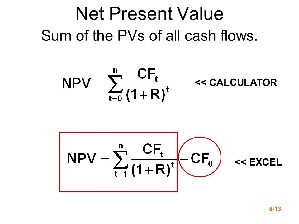 8-13 Net Present Value Sum of the PVs of all cash flows. << CALCULATOR << EXCEL