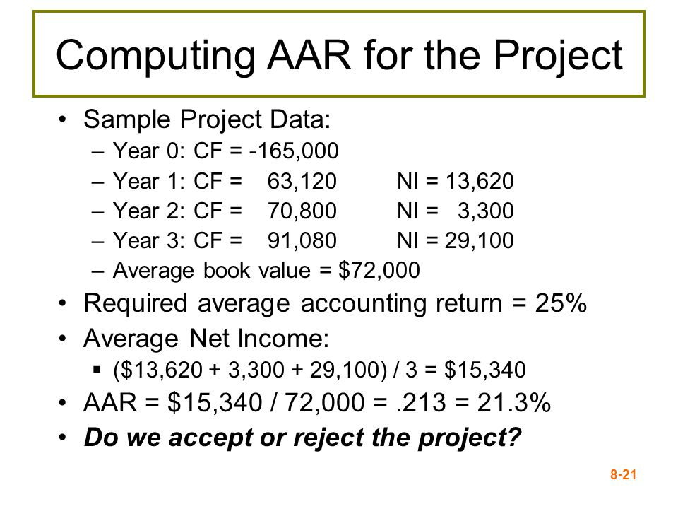 8-21 Computing AAR for the Project Sample Project Data: –Year 0:CF = -165,000 –Year 1:CF = 63,120 NI = 13,620 –Year 2:CF = 70,800 NI = 3,300 –Year 3:CF = 91,080 NI = 29,100 –Average book value = $72,000 Required average accounting return = 25% Average Net Income:  ($13,620 + 3,300 + 29,100) / 3 = $15,340 AAR = $15,340 / 72,000 =.213 = 21.3% Do we accept or reject the project