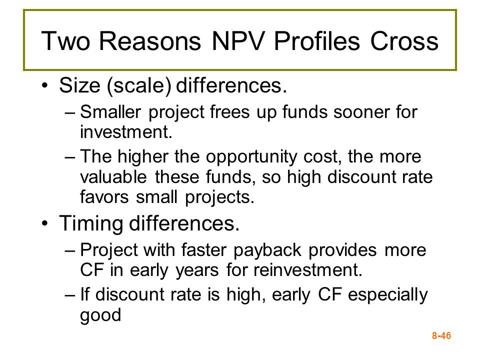 8-46 Two Reasons NPV Profiles Cross Size (scale) differences.