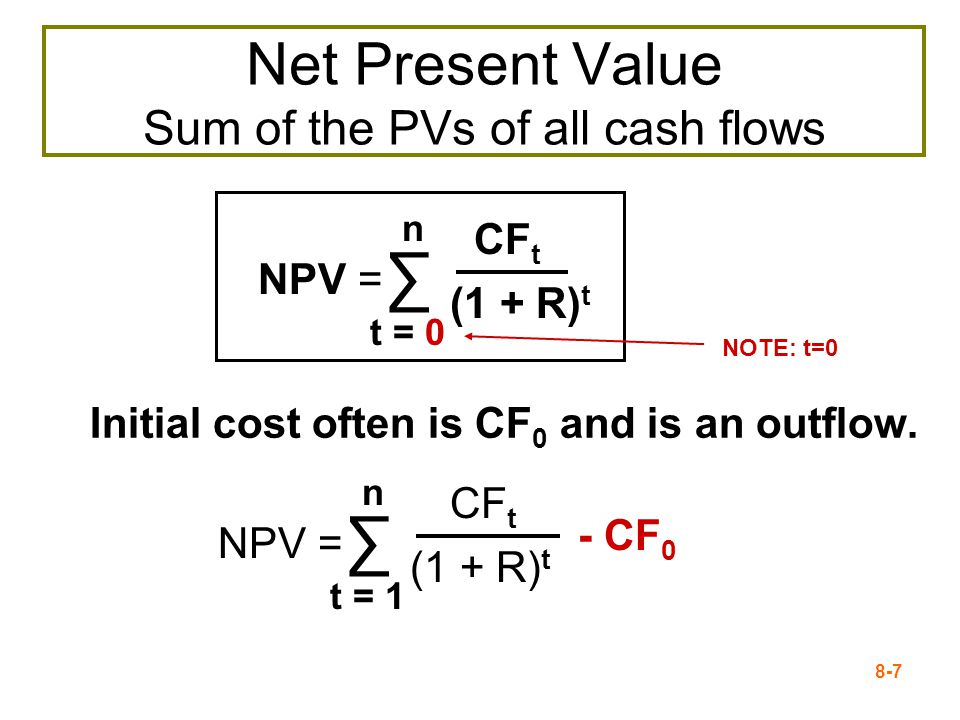 8-7 Net Present Value Sum of the PVs of all cash flows Initial cost often is CF 0 and is an outflow.