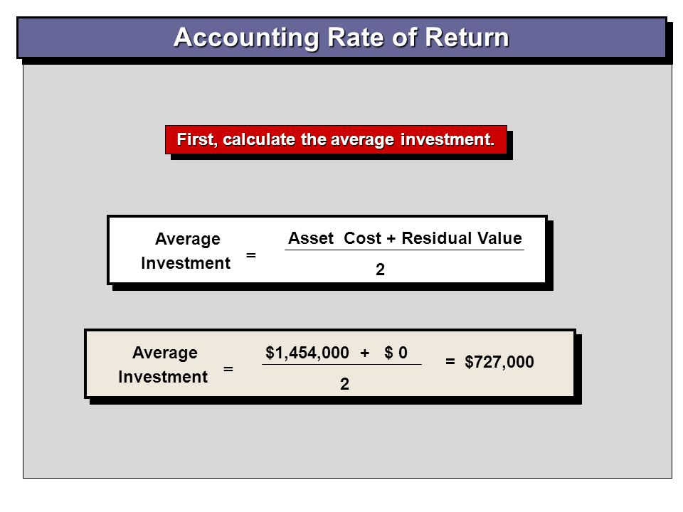 Accounting Rate of Return Average Investment = Asset Cost + Residual Value 2 Average Investment = $1,454,000 + $ 0 2 = $727,000 First, calculate the a