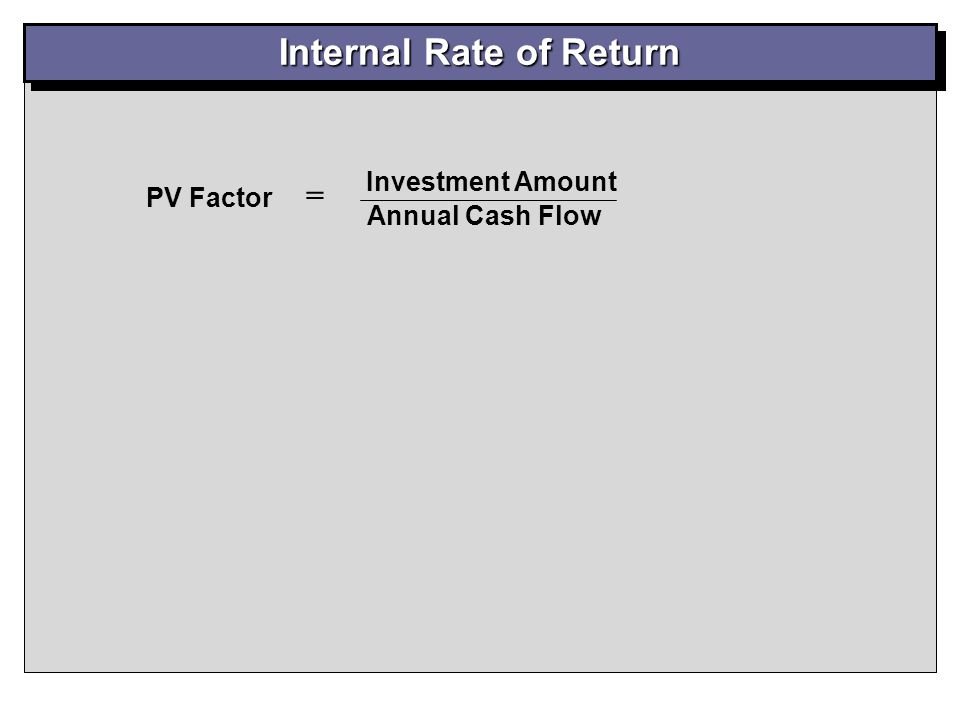 Internal Rate of Return PV Table B-2 - (PV of an Annuity): 7 Years (12% column) > 4.564 IRR = Approx. 12% $260,000 $57,000 PV Factor = = 4.561 Calcula