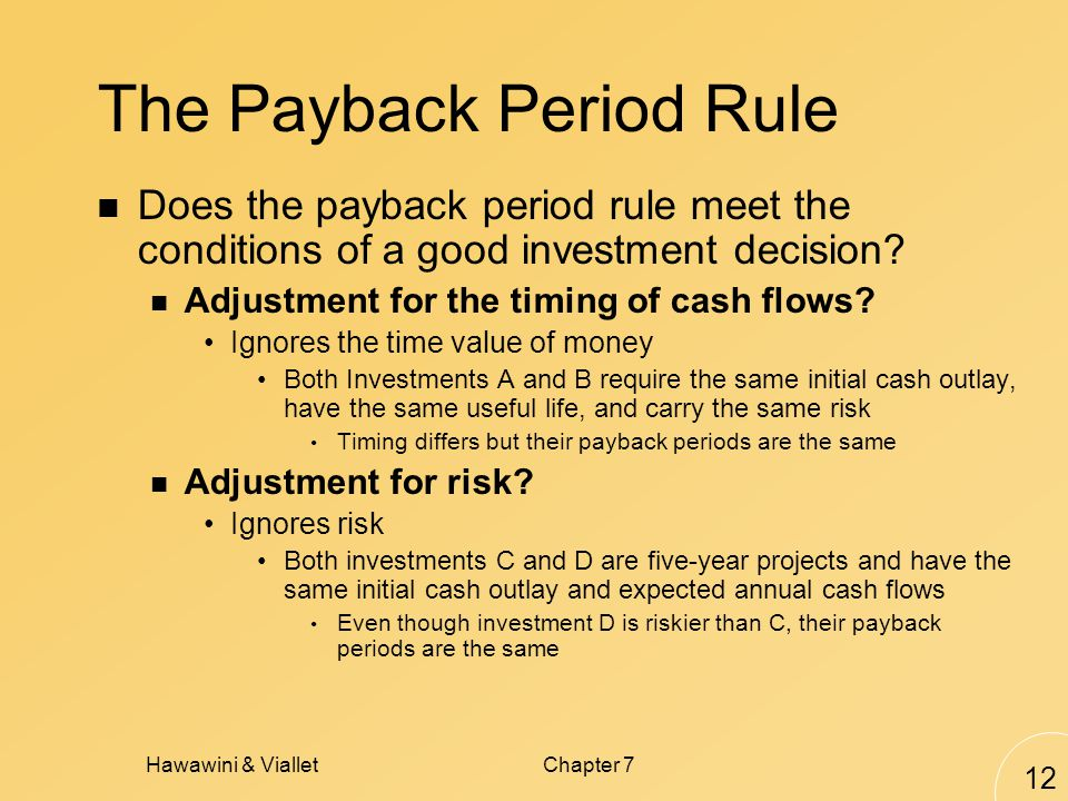 Hawawini & VialletChapter 7 12 The Payback Period Rule Does the payback period rule meet the conditions of a good investment decision.