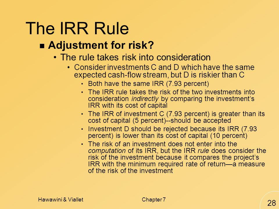 Hawawini & VialletChapter 7 28 The IRR Rule Adjustment for risk.