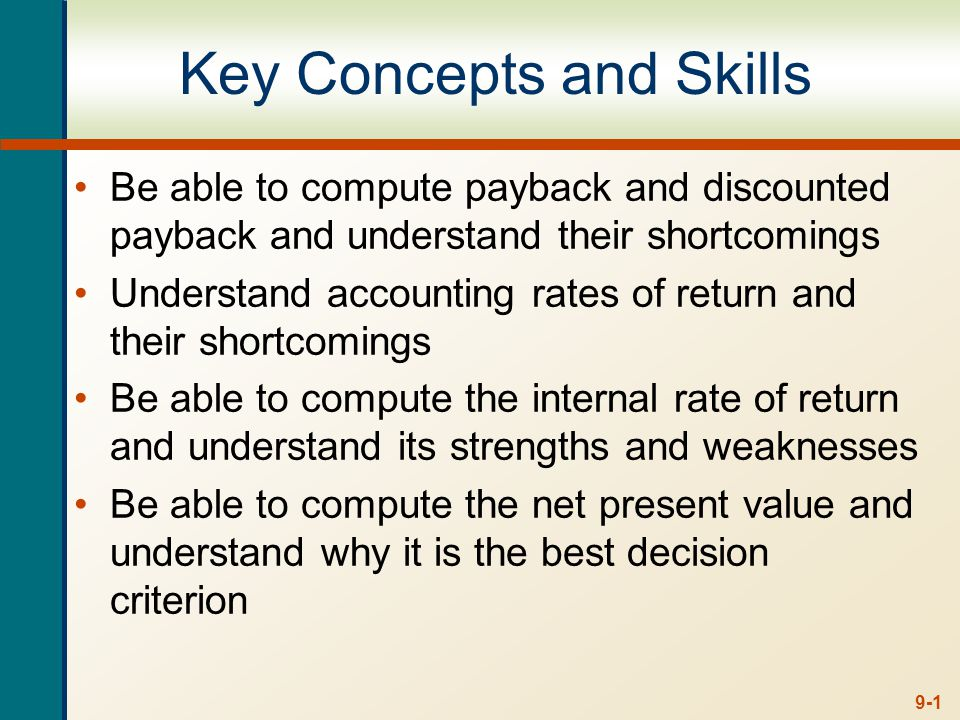 9-12 Decision Criteria Test - Payback Does the payback rule account for the time value of money.