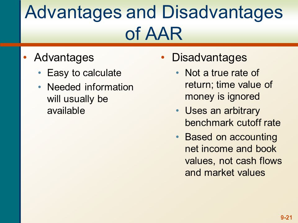 9-21 Advantages and Disadvantages of AAR Advantages Easy to calculate Needed information will usually be available Disadvantages Not a true rate of re