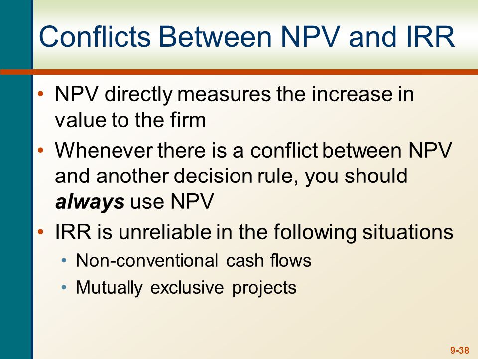 9-38 Conflicts Between NPV and IRR NPV directly measures the increase in value to the firm Whenever there is a conflict between NPV and another decisi