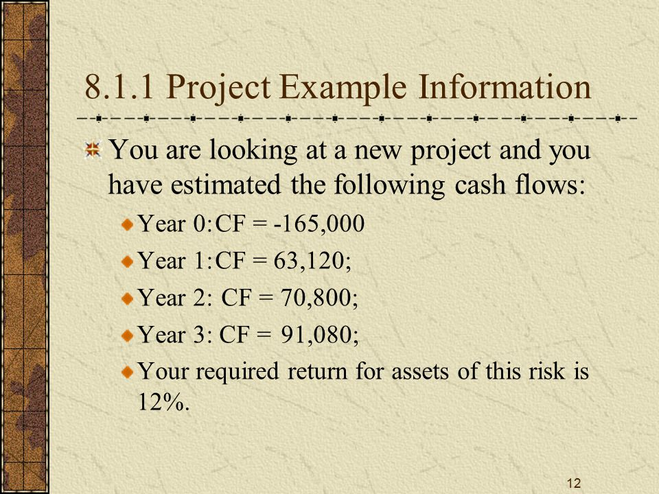12 8.1.1 Project Example Information You are looking at a new project and you have estimated the following cash flows: Year 0:CF = -165,000 Year 1:CF = 63,120; Year 2: CF = 70,800; Year 3: CF = 91,080; Your required return for assets of this risk is 12%.
